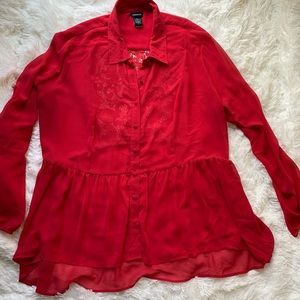 Torrid Red See Through Blouse With Lace